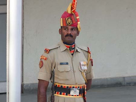 Indian guard at the Indian-Pakistan border
