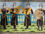 Musicians painted on the tiles found in Golestan Palace