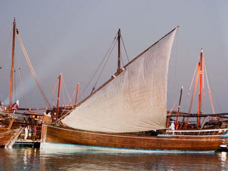 Dhow with half-mast sail