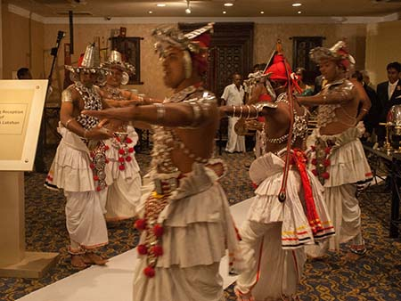 Traditional dancers welcoming the groom and bride